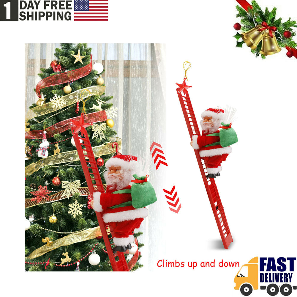 TSSPLUS™Animated Electric Climbing Ladder Santa Claus Doll Party Musical Christmas Decor