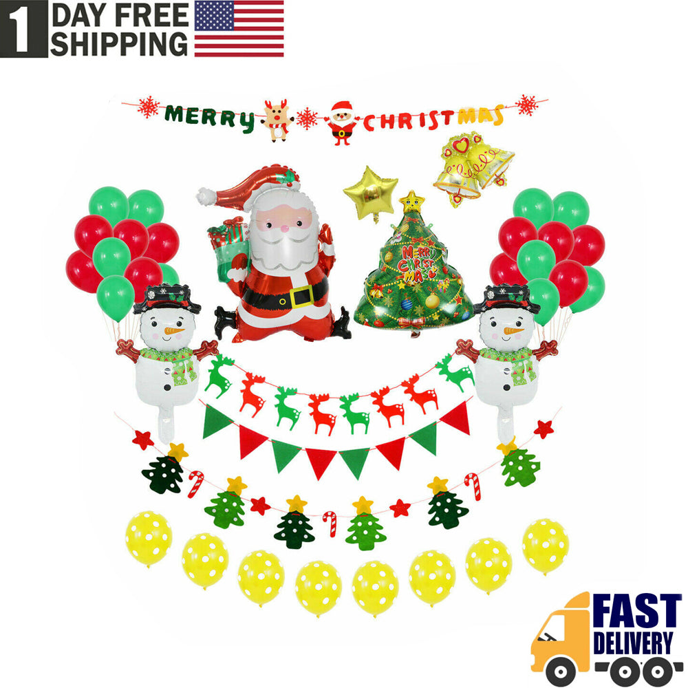 TSSPLUS™Merry Christmas Balloons Banner Photo Booth Props Party