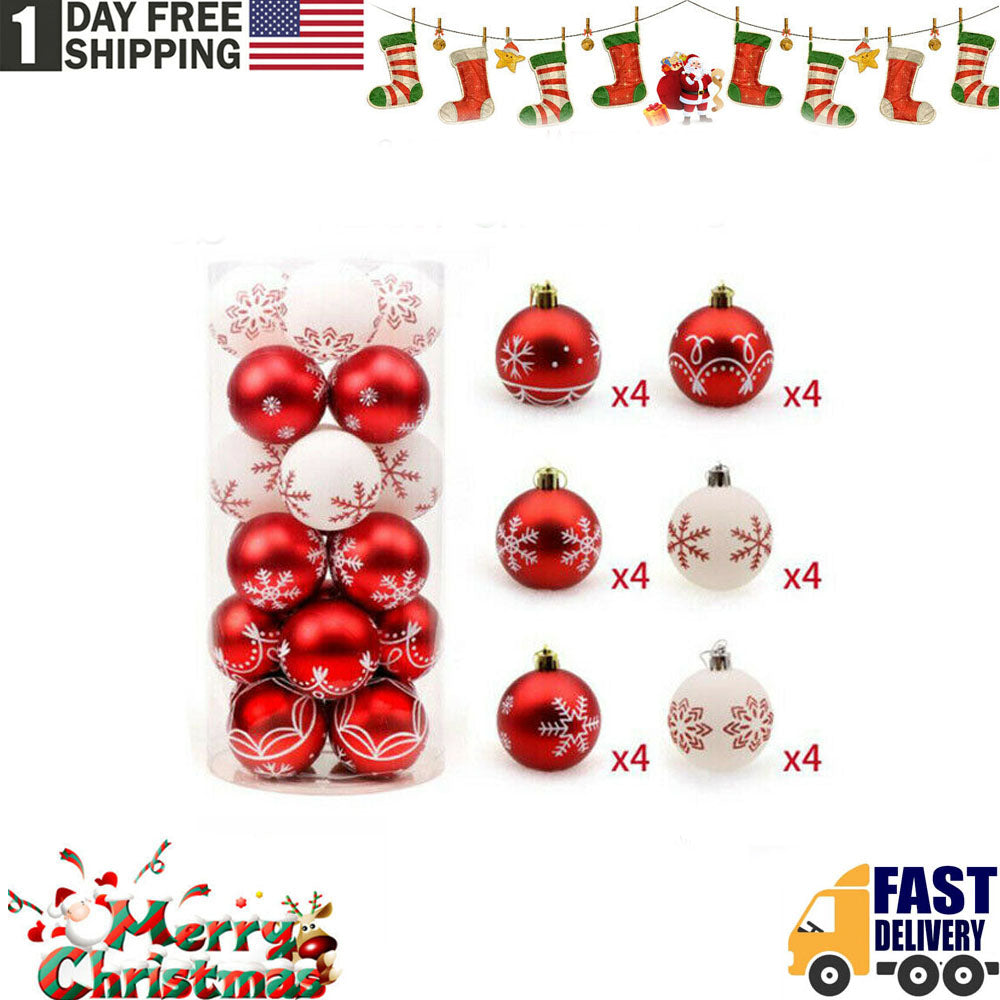 TSSPLUS™ Christmas Tree Painting Decoration Ball Home Party Hanging Decor Bal (24 Pcs)