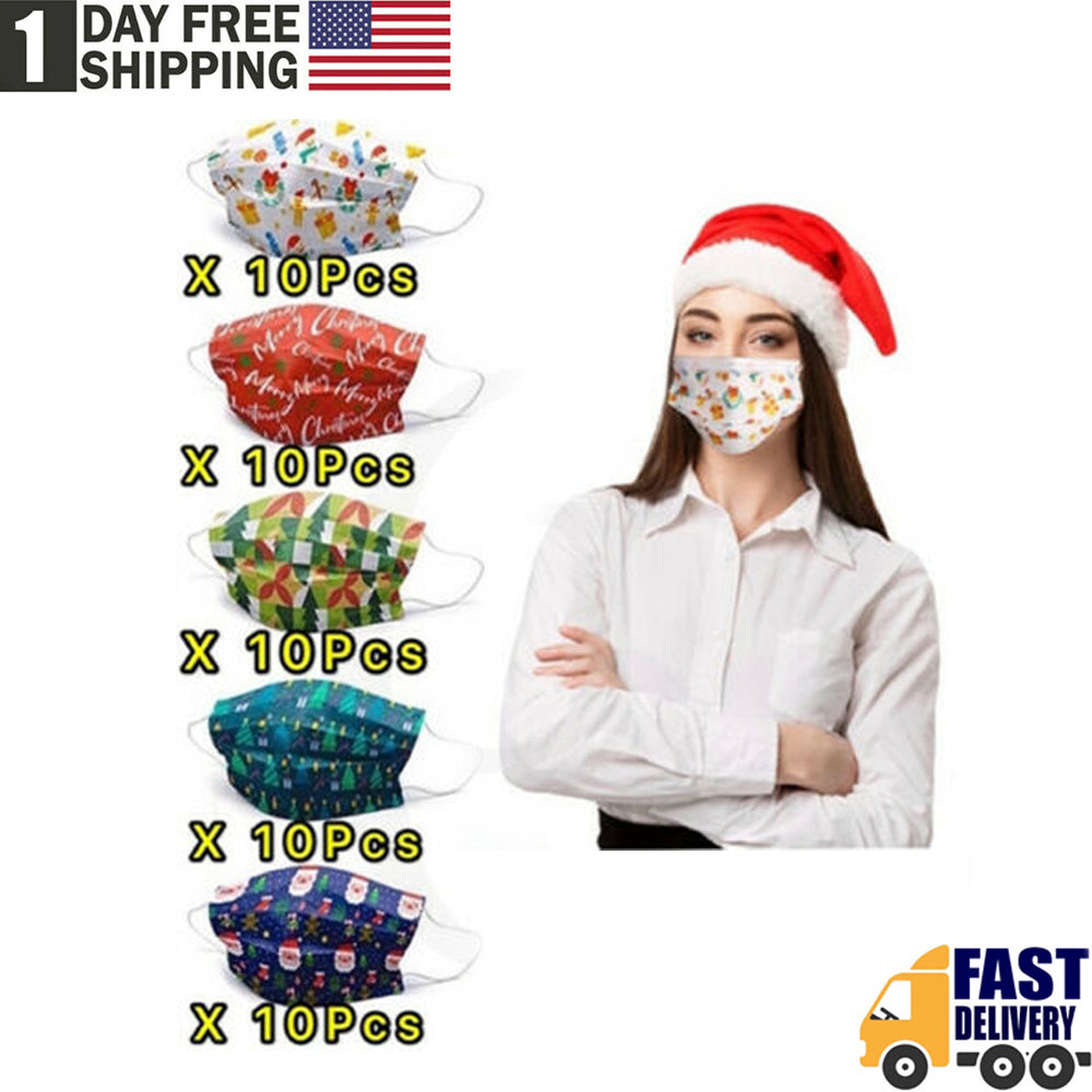 TSSPLUS™Christmas Holiday Face Mask Mouth & Nose Protector Respirator Masks (100/50 PCS)