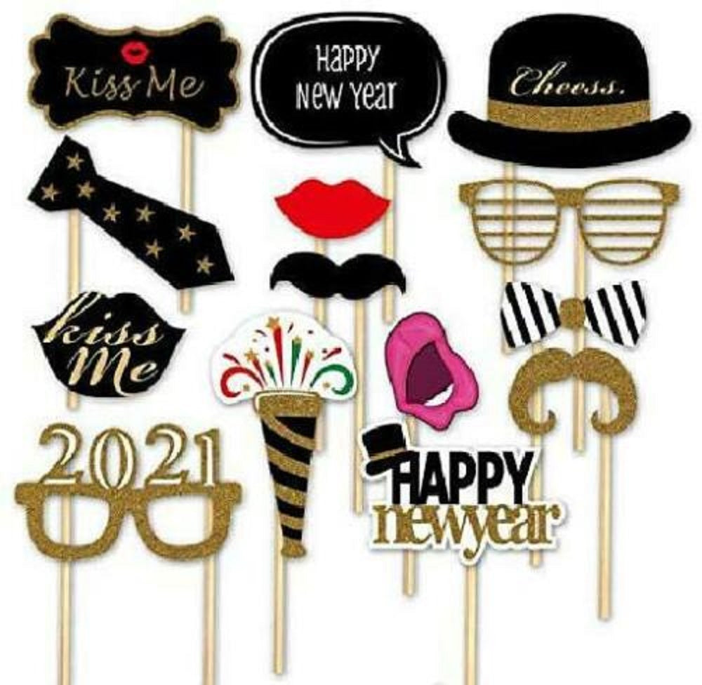 TSSPLUS™14PCS Glitter 2021 Happy New Year's Eve Party Photo Booth Props Supplies