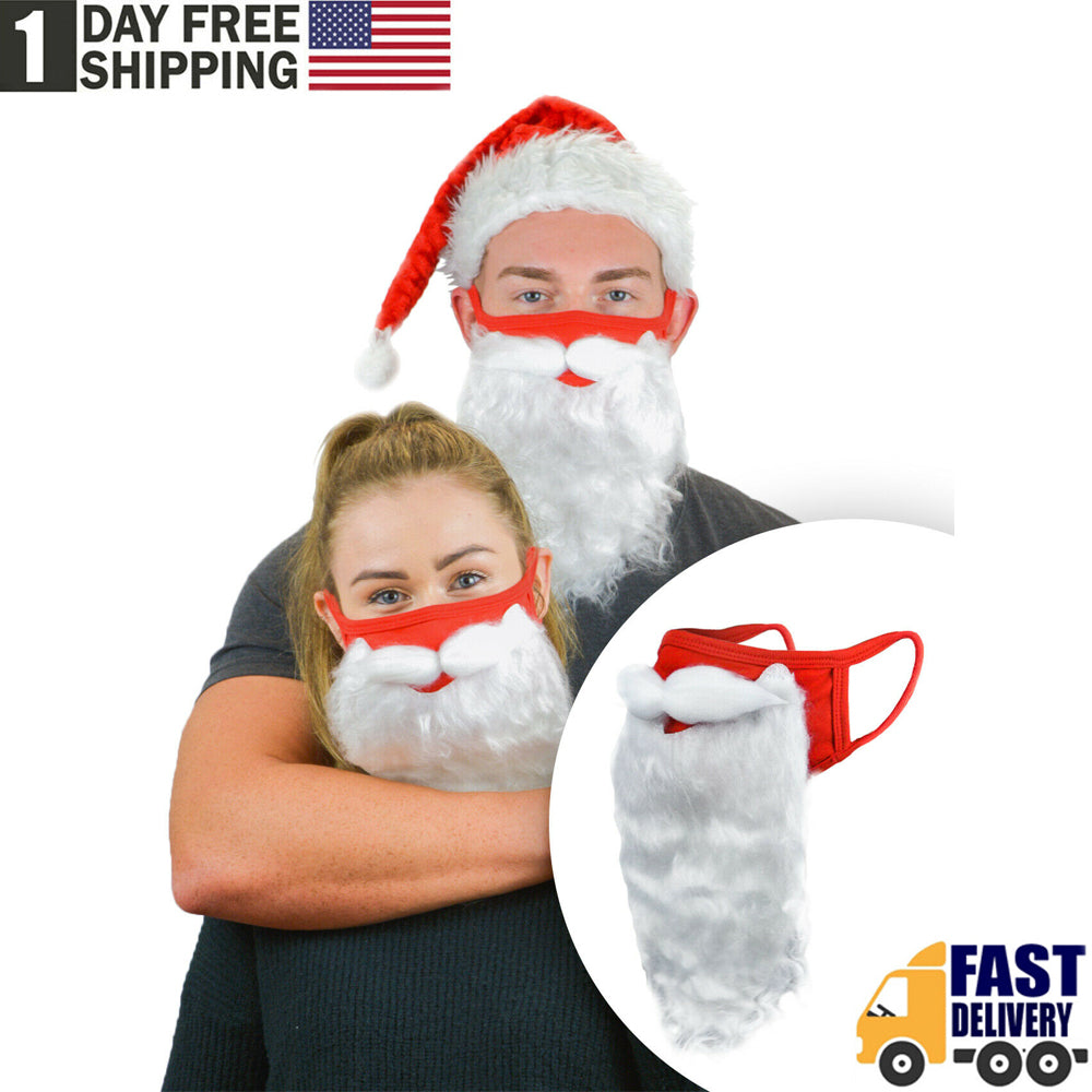 TSSPLUS™Holiday Santa Beard Face Mask Costume for Adults for Christmas 1 PCS (One Size)