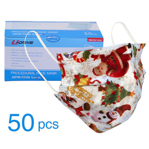 TSSPLUS™White Christmas Protective Respirator Mouth Cover Disposable Face Mask