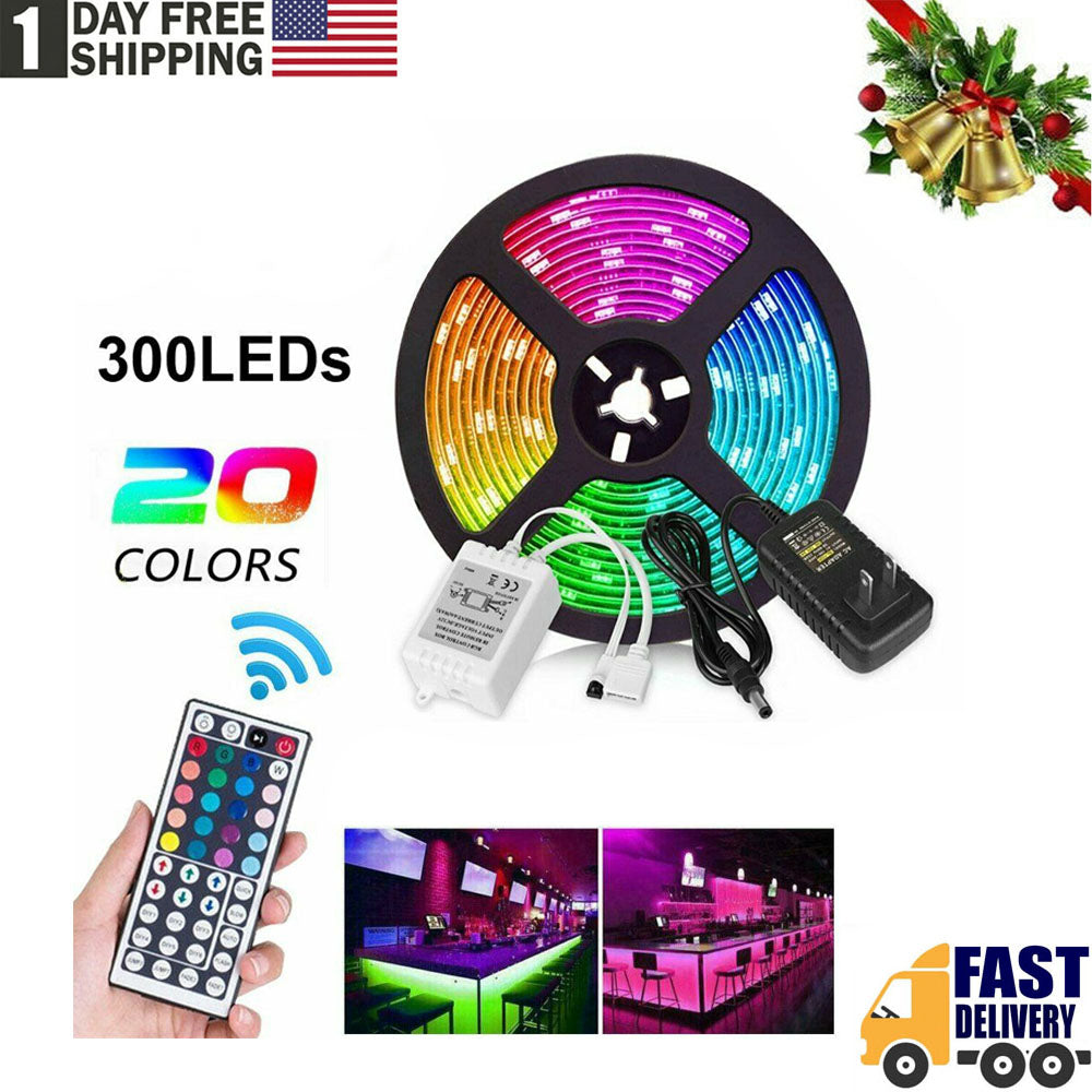 TSSPLUS™16.4ft RGB 5050 Waterproof LED Strip lights SMD Flexible 44Key Remote 12V Power