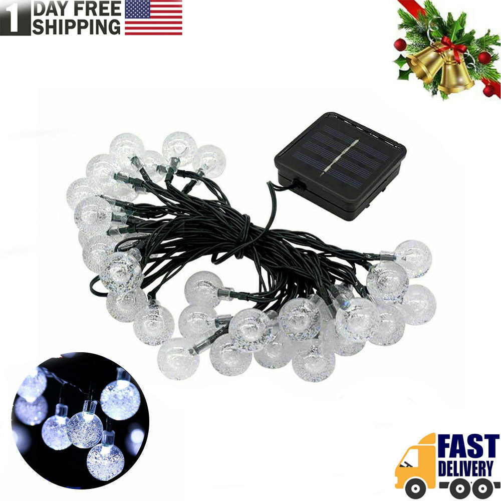 TSSPLUS™Solar Lamp Crystal Ball LED String Lights Flash Waterproof Fairy Christmas Decor