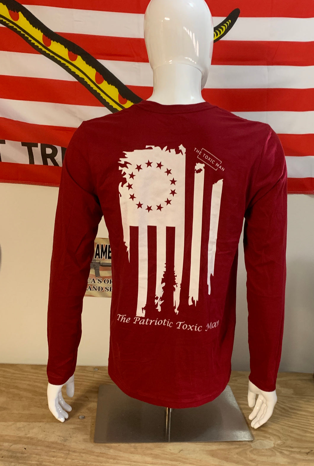 Deep Red Betsy Ross Long Sleeve T-Shirt