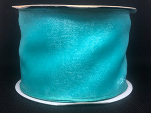 Wired Edged Turquoise Craft Ribbon
