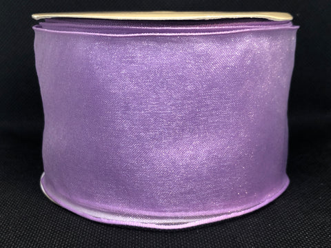 Wired Edged Lilac Craft Ribbon
