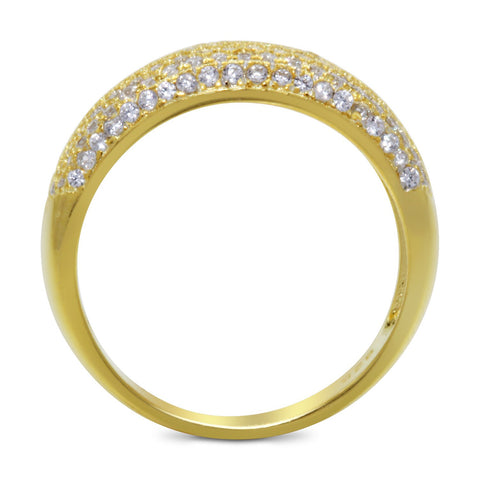 CZ 7mm Sterling Silver Gold Plated Diamond Stimulant Band Engagement Ring