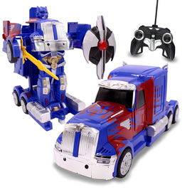 Family Smiles Kids RC Toy Car Transforming Robot Remote Control Truck 1:14 Scale Blue Boys 8+ Gift