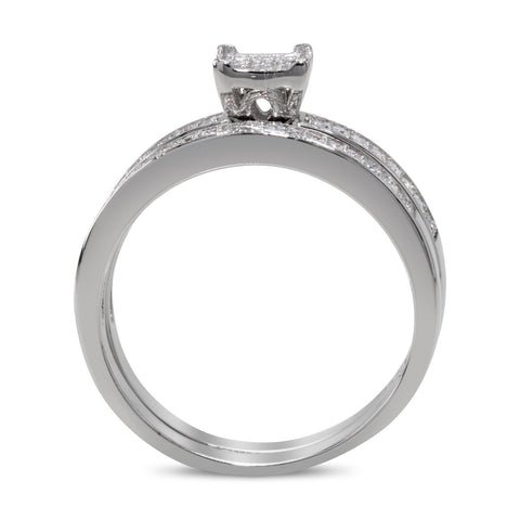 CZ 5mm Center Stone Sterling Silver Plated Crossover Halo Engagement Ring Set