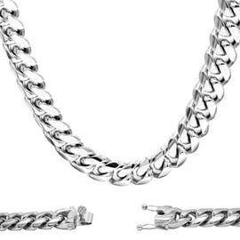 Cuban Link Chain Necklace, 14mm Stainless Steel, Fashion Jewelry