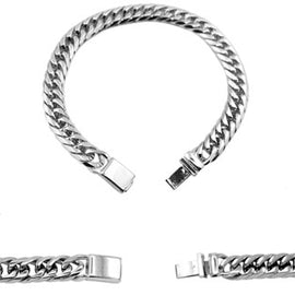 Cuban Link Chain Bracelet Miami Cuban Stainless Steel Double Link - 19mm