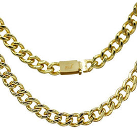 Cuban Link Chain Necklace 18k Gold Plated Miami Cuban Stainless Steel - 14mm