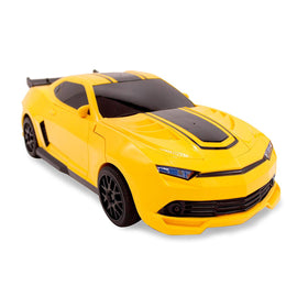 Family Smiles Kids RC Toy Yellow Car Transforming Robot 1:16 Scale Boys Remote Control Vehicle Ages 8 - 12