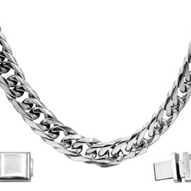 Cuban Link Chain Bracelet Miami Cuban Stainless Steel Double Link - 12mm