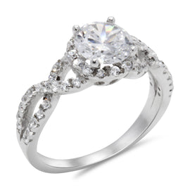 CZ 7mm Center Stone Sterling Silver Plated Crossover Halo Engagement Ring