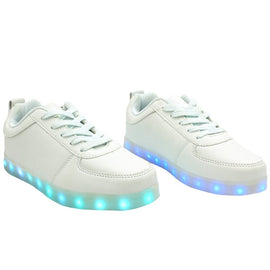 Low Top Casual (White) - LED SHOE SOURCE,  Shoes - Fashion LED Shoes USB Charging light up Sneakers Adults Unisex Men women kids Casual Shoes High Quality