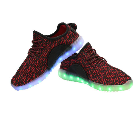 Sport Knit App Controlled (Black & Red) - LED SHOE SOURCE,  Shoes - Fashion LED Shoes USB Charging light up Sneakers Adults Unisex Men women kids Casual Shoes High Quality