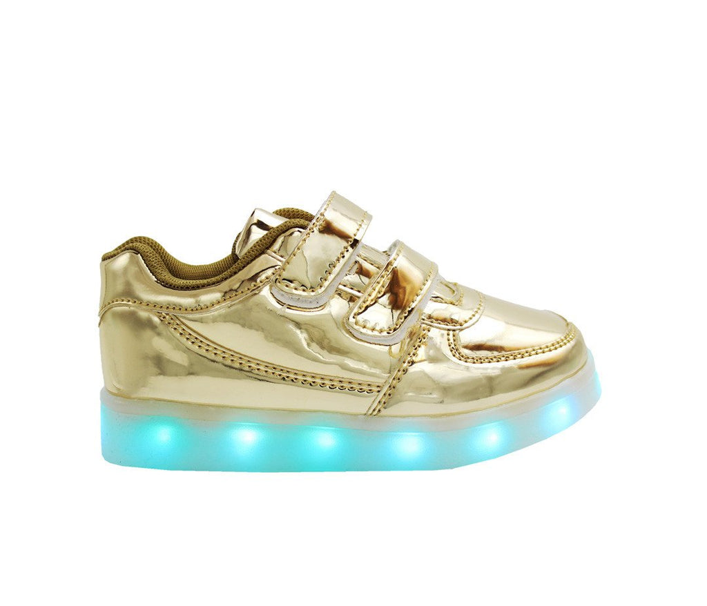Kids Low Top Shine (Gold) - LED SHOE SOURCE,  Shoes - Fashion LED Shoes USB Charging light up Sneakers Adults Unisex Men women kids Casual Shoes High Quality
