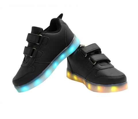 Kids Low Top Wing Walker (Black) - LED SHOE SOURCE,  Shoes - Fashion LED Shoes USB Charging light up Sneakers Adults Unisex Men women kids Casual Shoes High Quality