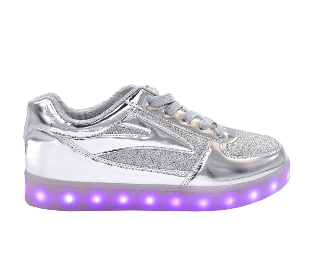 Low Top Fusion (Silver) - LED SHOE SOURCE,  Shoes - Fashion LED Shoes USB Charging light up Sneakers Adults Unisex Men women kids Casual Shoes High Quality