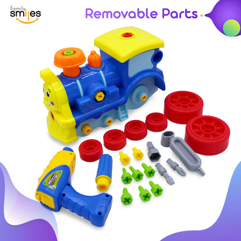 Family Smiles Take Apart Kids Educational Toy with Tools Construction Engineering Building Train Play Set Creative Fun Toys for Children (Train)