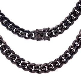 Cuban Link Chain Necklace, 12mm Black Plated Stainless Steel, Fashion Jewelry