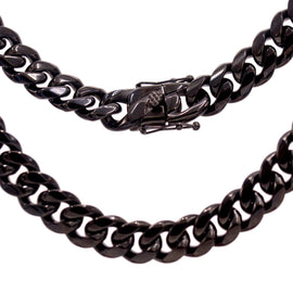 Cuban Link Chain Necklace, 14mm Black Plated Stainless Steel, Fashion Jewelry