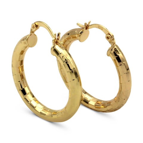 Fancy Boxed Design Rose Gold Filled Hoop Earrings 4.25mm