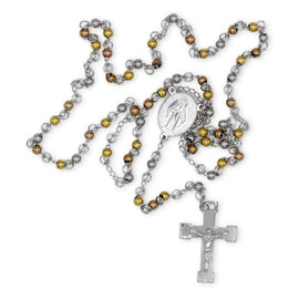 Traditional Rosary Necklace Five Decade Stainless Steel Catholic Prayer Beads (Silver/Gold/Rose Gold) 4mm