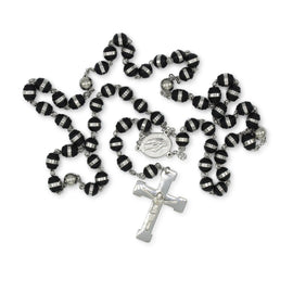Fancy Rosary Necklace Five Decade Split Acrylic Catholic Prayer Beads (Silver/Black) 6mm
