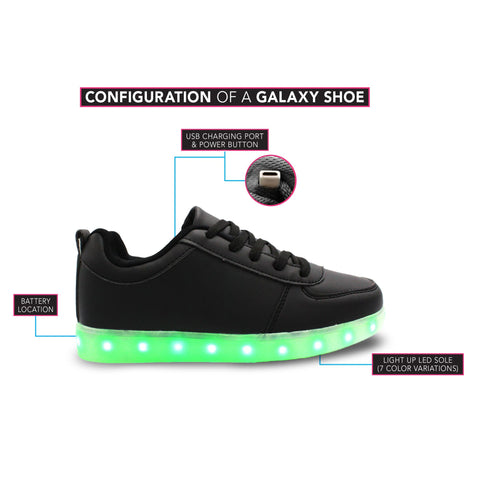 LED Light Up Sneakers Kids Low Top USB Charging Boys Girls Unisex Lace Up Shoes
