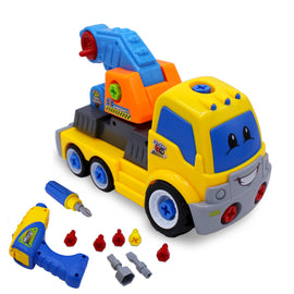 Kids Educational Take Apart Boy Vehicle Toy Construction Developmental STEM Learning Crane Engineering Tools Build Your Own Car Play Set for Children