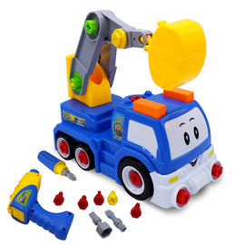 Kids Educational Take Apart Boy Vehicle Toy Construction Developmental STEM Learning Crane Engineering Tools Build Your Own Car Play Set Children