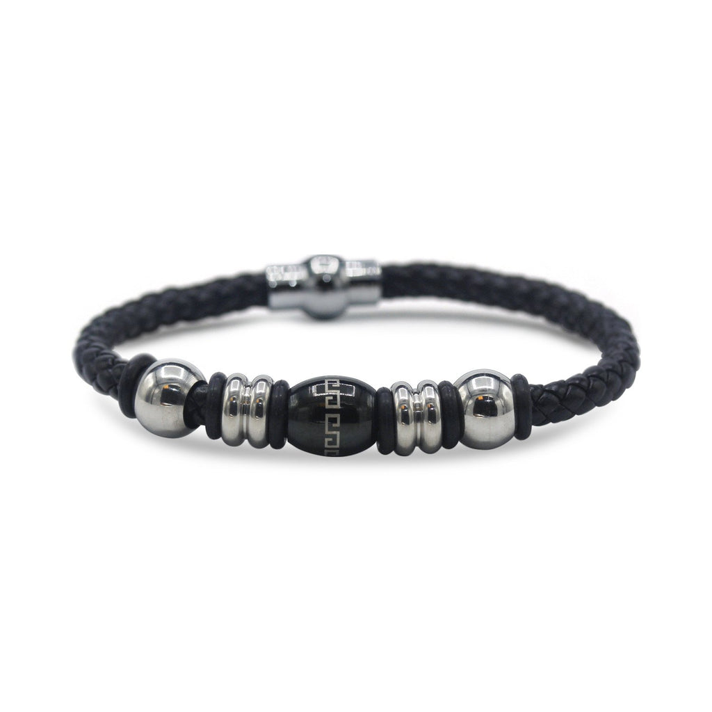 Decorative Leather Bracelet Stainless Steel Accents Magnetic Clasp (Silver/Black)