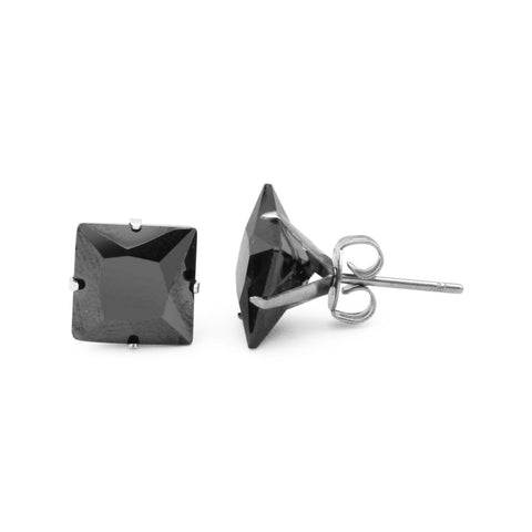 Stud Earrings Black Square Cubic Zirconia Stainless Steel CZ Ear Piercing