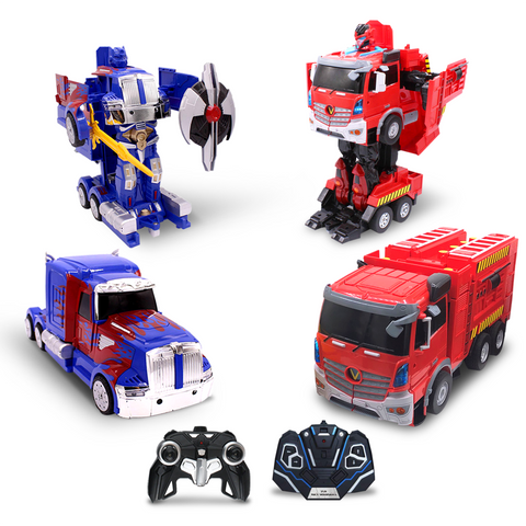 Kids RC Toy Car Transforming Robot Fire Car Blue Truck Set Transformation 360 Spinning Speed Drifting 2 Band 2.4 GHz Remote Control Vehicle Toys for Boys