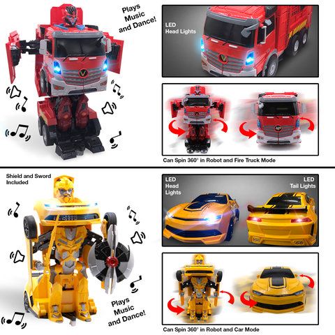 Kids RC Toy Car Transforming Fire Truck Yellow Sport Cars Set Transformation 360 Spinning Speed Drifting Remote Control Vehicle Toys for Boys