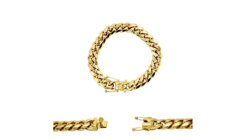Cuban Link Chain Bracelet, 12mm 18k Gold Plated Stainless Steel, Fashion Jewelry