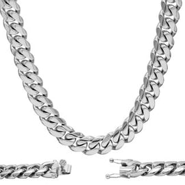 Cuban Link Chain Necklace, 12mm Stainless Steel, Fashion Jewelry