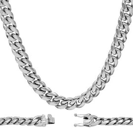 Cuban Link Chain Necklace, 10mm Silver Plated Stainless Steel, Fashion Jewelry