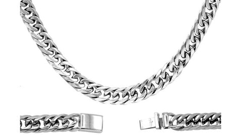 Cuban Link Chain Necklace Miami Cuban Stainless Steel Double Link - 14mm