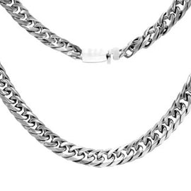 Cuban Link Chain Necklace Miami Cuban Stainless Steel Double Link - 8mm