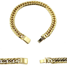 Cuban Link Chain Bracelet 18k Gold Plated Miami Cuban Stainless Steel Double Link - 22mm