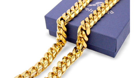 Cuban Link Chain Necklace, 14mm 18k Gold Plated Stainless Steel, Fashion Jewelry