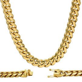 Cuban Link Chain Necklace, 12mm 18k Gold Plated Stainless Steel, Fashion Jewelry