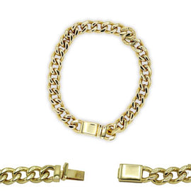 Cuban Link Chain Bracelet 18k Gold Plated Miami Cuban Stainless Steel - 14mm