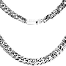 Cuban Link Chain Necklace Miami Cuban Stainless Steel Double Link - 22mm
