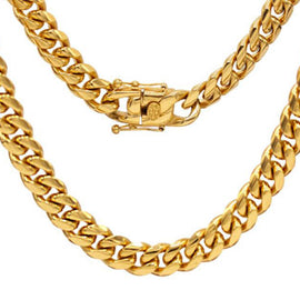 Cuban Link Chain Necklace, 10mm 18k Gold Plated Stainless Steel, Fashion Jewelry